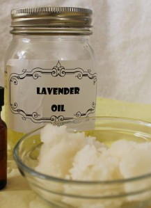 Lavender oil about to be used in whipped coconut oil lotion.