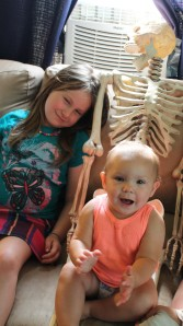 Miss K wanted to sit on Skelly's lap. it was funny and oh so cute. Miss S was content to lay her head on his shoulder.