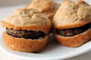 Tasty pancake sausage biscuit